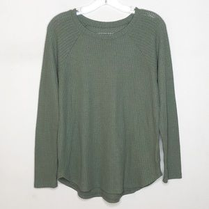 American Eagle Soft & Sexy Waffle Top Green Small